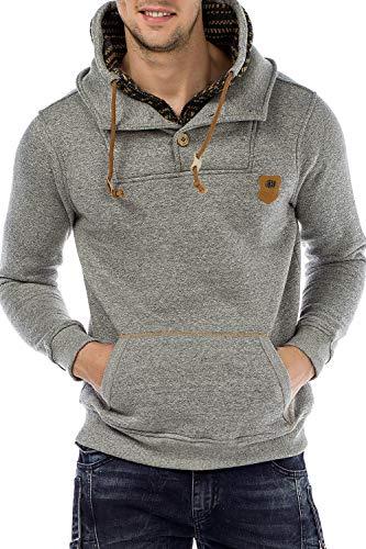 Cipo & Baxx Herren Sweatshirt Kapuzenpullover Hoodie Sweatshirt Pullover Kordel Pullover Sweater Strickkapuzenpulli Greymelange XXL