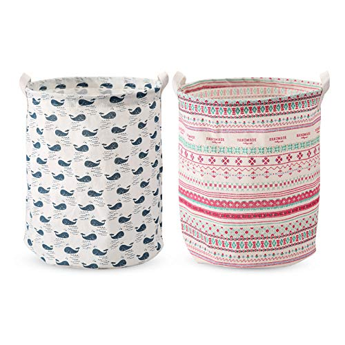 2 piezas Clasificador de almacenamiento de cestas de lavandería, cesto de ropa plegable de tela, lino de algodón redondo impermeable, para dormitorio, baños, 43 x 37,5 cm, ballena y estampado floral