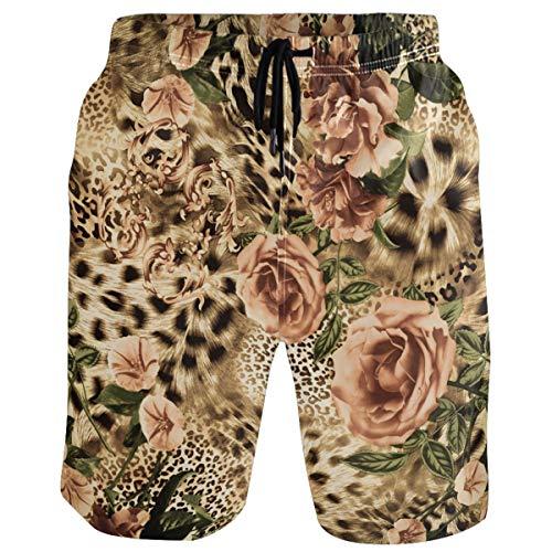 visesunny Cool Rose Leopard Print Summer Men's Swimtrunks Quick Dry Casual Mesh Lining Beach Board Shorts S-XXL