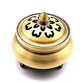 DXTY Bruciatore per Incenso con Porta Incenso, Decorazione Bruciatore di Incenso Titolare del Bronzo del Bruciatore di Incenso Mestiere Tradizionale, per Bastoncini E Coni di Incenso Bronze