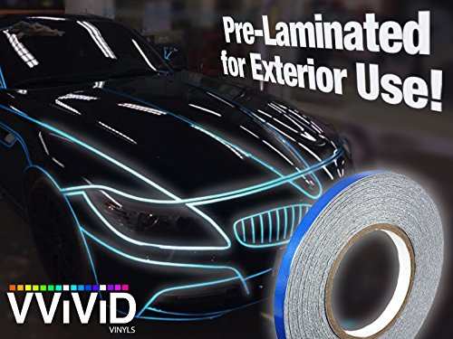 VViViD Reflective Fine Line Detail Tape Stripe 1cm x 3m Prelaminated for Interior/Exterior Use (Blue)
