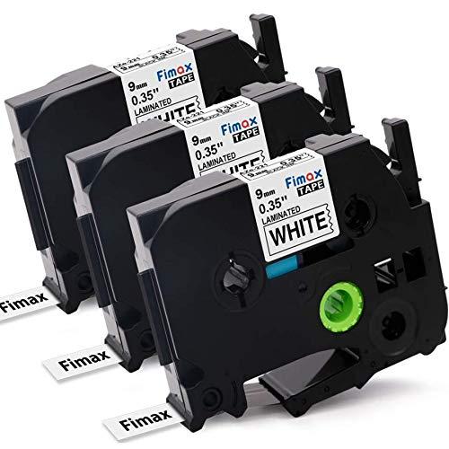 Nastro Cassette Etichette Fimax Compatibile In sostituzione di Brother P-touch TZe-221 9mm Nero su Bianco Stampanti per TZ Tape Ptouch PT-107B 1000 H105 H110 H100R 1005 1010 (3Pz.)