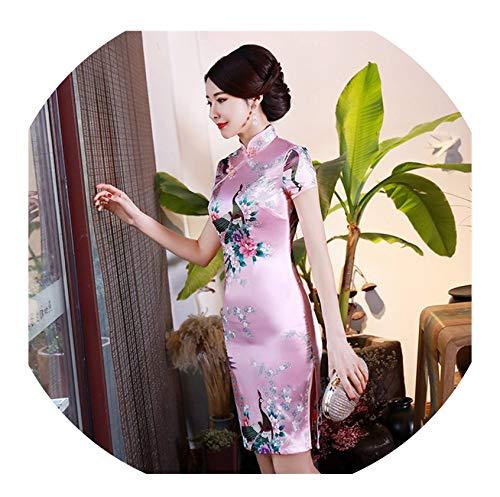 Kleine schattige winkel Blauw Chinese Vrouwen Zijde Rayou Halter Cheongsam Mini Qipao Jurk Peafowl Maat S M L XL XXL
