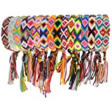 obmwang 16 Pieces Woven Friendship Bracelets Handmade Bracelets Adjustable Braided Bracelets with a