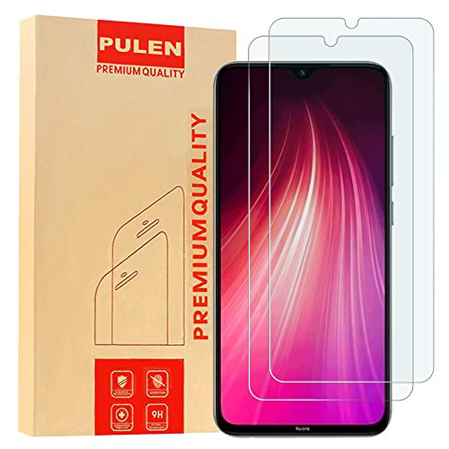[2-Pack] PULEN for Xiaomi Redmi Note 7 and Redmi Note 8 Screen Protector,HD Clear Scratch Resistance Bubble Free 9H Hardness Tempered Glass (6.3 Inch)