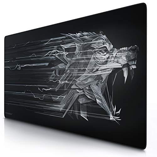 CSL - Übergröße Mauspad Gaming Titanwolf 1200x600mm - XXXL Mousepad groß mit Motiv - Tischunterlage Large Size - verbessert Präzision und Geschwindigkeit - XXL z.B. für Logitech Maus und Tastatur