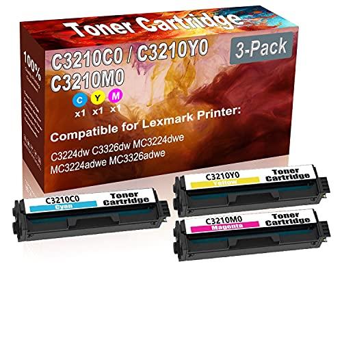 3-Pack (C+Y+M) Compatible C3224dw C3326dw MC3224dwe Laser Printer Toner Cartridge (High Capacity) Replacement for Lexmark C3210C0 C3210Y0 C3210M0 Printer Toner Cartridge