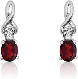0.20 Carat (ctw) 14k Gold Oval Red Garnet and Diamond Infinity Swirl Stud Earrings with Post with Friction Back (4 x 3 MM)