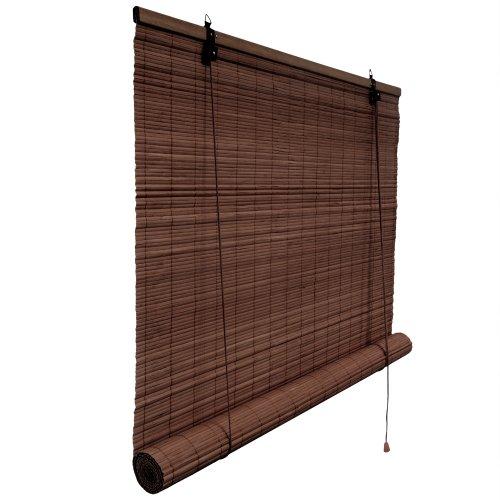 Victoria M. Bambusrollo Blickdicht 60 x 160 cm, Hochwertiges Fenster-Rollo Bambus für Innen, Praktisches Sonnenschutz und Sichtschutz Rollo Seitenzugrollo für Fenster und Türen in Dunkelbraun