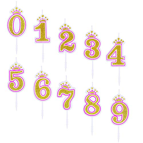 10 Pieces Numeral Candles Birthday Pink Candles with Crown Number 0-9 Glitter Cake Topper Decoration for Girls Kids Birthday Party Favor