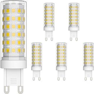 Klighten Bombilla LED G9 de 9W Equivalente a 70W Lampara Halógena, Blanco Natural 4000K, 700LM, No regulable, 360 Grados, Lámpara G9 para Iluminación del Hogar, Paquete de 6