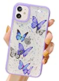 BANAILOA iPhone 11 Cute Case,Bling Glitter Butterfly Shiny Flash Foil Clear Soft Silicone Gel Rubber Bumper Shockproof Full Protective Back Cover for iPhone 11 6.1-inch (Purple)