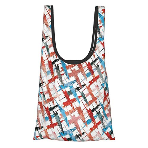 T-shop Psychedelic Decor Grunge Graffiti Patterns Street Art Spray Paint Chaos Of Colors Artwork Red Blue Reusable Fold Eco-Friendly Shopping Bags