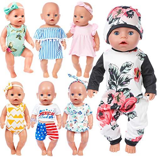 ZITA ELEMENT 7 Stück Puppenzubehör für 43-46cm Babypuppe und 16-18 Zoll American Girl Doll Puppe Kleidung Puppenbekleidung