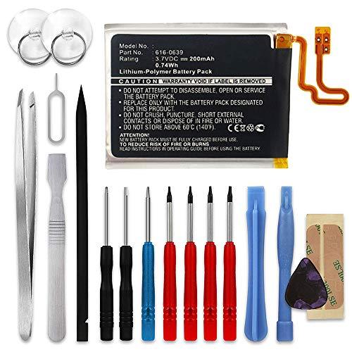 subtel® Qualitäts Akku kompatibel mit Apple iPod Nano 7 Gen. A1446, 616-0639, 616-0640 200mAh + Werkzeug-Set Ersatzakku Batterie