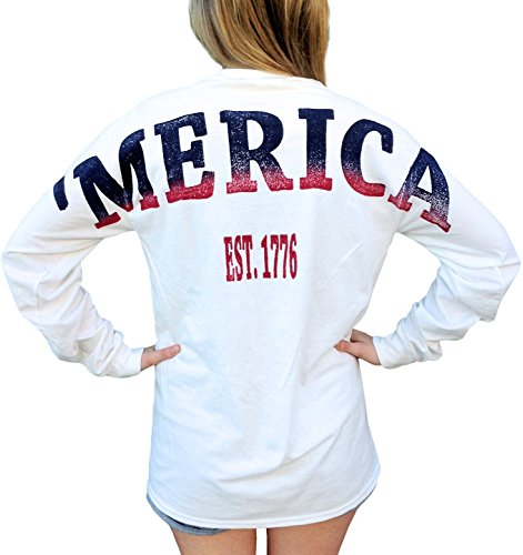 Fashion Greek Merica Stadium Jersey USA Unisex Long Sleeve T Shirt with Front Pocket White Medium
