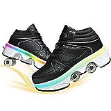Los Patines De Hielo Polea Zapatos Multifuncional Deformación Patinaje sobre Ruedas Doble Rodillo Zapatos De Skate Zapatos Zapatillas De Deporte