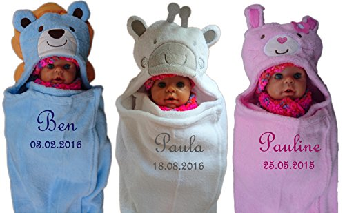 Baby Einschlagdecke mit Namen bestickt Babydecke 3d Kapuze Löwe Giraffe Hase