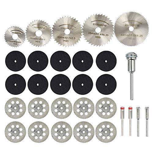 YUQIYU Discos de diamante CMCP dispuestos for herramienta rotativa FOR Dremel 30 Madera Mini HSS hoja de sierra circular hoja de corte en cuadritos (Color : 30pcs Set)