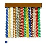 Cortinas Exterior Puerta de Cordon | 120 Tiras Plastico PVC y Barra Aluminio | Ideal para Terraza y Porche | Antimoscas | (Azul, 90)