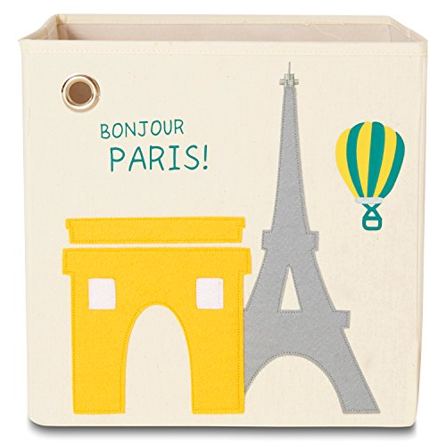 kaikai & ash Toy Storage Bins, Foldable Canvas Cube Box for Kids, 13 inch - Paris