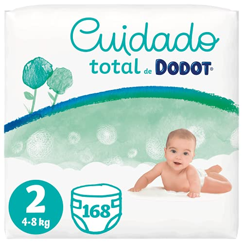 Dodot Pañales Bebé Cuidado Total Talla 2 (4-8 kg), 168 Pañales, Suave Protección de la Piel de Dodot con Ingredientes de Origen Vegetal