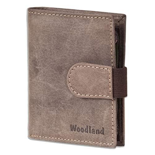 Woodland - portafoglio super-compatto con XXL tasche carte di credito per 18 carte di pelle di bufalo naturale in marrone scuro/Taupe