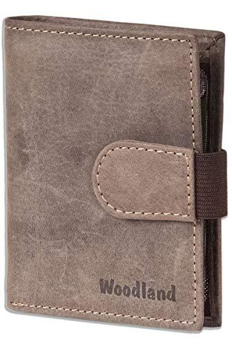 Woodland - billetera Super-compacto con XXL tarjeteros para 18 tarjetas de cuero de búfalo natural en Marrón oscuro/Taupe