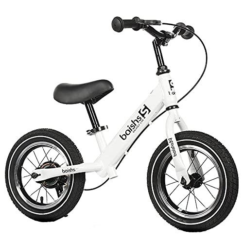 YMDA Balance Bike, 12 Inches with Brakes and Adjustable Seat, PU Foam Pad TPR Environmentally Friendly Grip, Rubber Pneumatic Tire Balance Bike