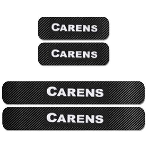 ACLBB 4 Piezas Decoración para Estribos,para KIA CARENS Umbral De Puerta Fibra de Carbon Bienvenida Protector Accesorio