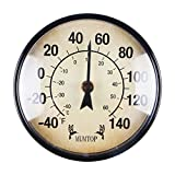 MUMTOP Indoor Outdoor Thermometer Waterproof Wall Thermometer Wireless Hygrometer, No Battery Required Patio Hanging Decor