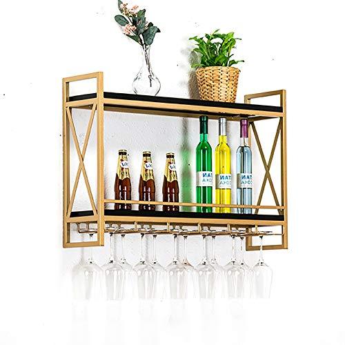 JHGJBJ Gold-Metall-Wandweingestell, Stil Industrieschmiedeeisen doppelwandige Wandhalterung Weinglas, mit Weinglas Trog (Size : 60cm)