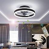 YUNZI Regulable Silencio Ventilador de Techo con luz y Control Remoto, LED 24W Luces de Techo, Moderno Mudo Iluminación del Ventilador para Sala Habitación Lujo Lámpara de Techo,Negro