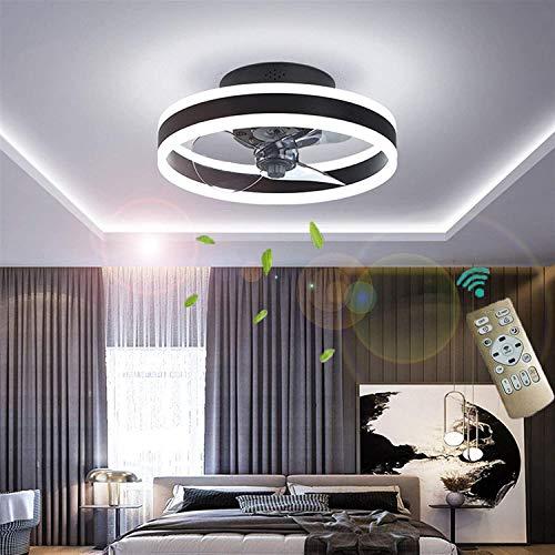 Deckenventilator Mit Beleuchtung, Fernbedienung Leise Moderne Led Mit Licht Wohnzimmer Ventilator Deckenleuchte Ventilatorlicht für Wohnzimmer, Schlafzimmer Kinderzimmer Esszimmer (Schwarz)