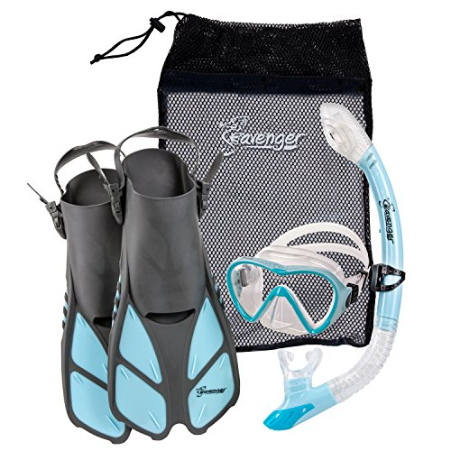 Seavenger Diving Dry Top Snorkel Set with Trek Fin, Single Lens Mask and Gear Bag, S/M - Size 4.5 to 8.5, Gray/Dodger Blue