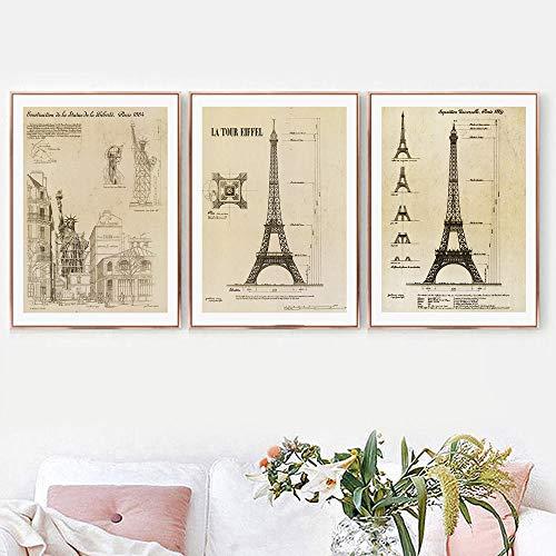 Estatua de la libertad Paris Tower Blueprint Arte de la pare