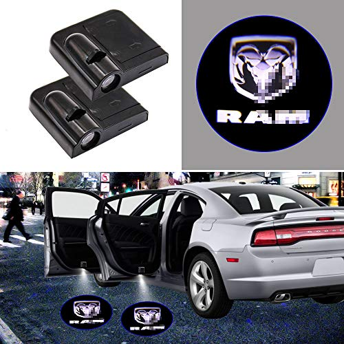 2 Pieces Wireless Car Door Logo Light for Dodge RAM, LED Car Door Courtesy Welcome Projector Light Ghost Shadow Lights Compatible with Dodge All Models