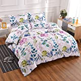 YMY Lightweight Microfiber Bedding Duvet Cover Set with Zipper Closure, Colorful Floral Pattern Comforter Cover Set (Purple, Queen)