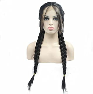 Double Braids Wig Middle Part 2# Dark Brown Heat Resistant Natural Look Long Synthetic Lace Front Wigs With Baby Hair for Women Ladies Girls Handmade Braided Replacement Wig 24inches