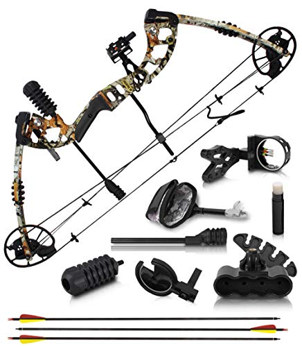 "2020 Compound Bow and Arrow for Adults and Teens – Hunting Bow with Gordon Limbs Made in USA - Fully Adjustable for Women and Youth 30-70 LBS, 23.5-30.5"" - 320 FPS Speed – 5-Pin Sight, Quiver - Right"