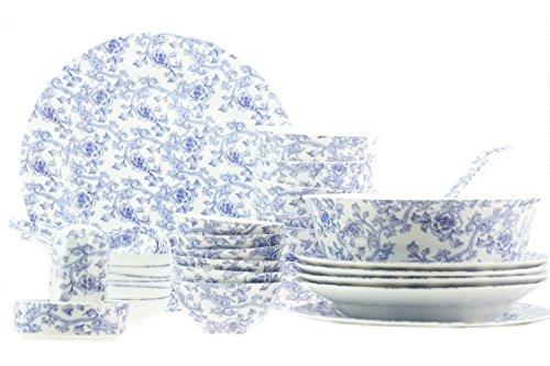 36pezzi lusso Bone China blu fiore servizio di piatti per 6persone