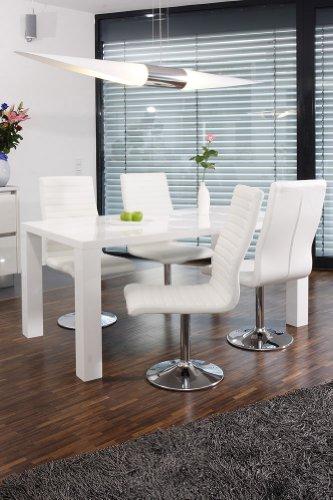 Esstisch-Gruppe weiß Hochglanz 180x90 cm recht-eckig mit 6 Lio Kunst-Leder Stühlen   Luca   Essgruppe Weiss mit 6 weißen Stühlen   Designer Tischgruppe mit ESS-Tisch weiß lackiert 180cm x 90cm 7 TLG.