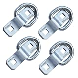 Robbor D Ring,Tie Down Anchor 4 Pk Surface Mount Tie Down Ring Heavy Duty 6000 Pound Breaking Strength Super Strong Forged Steel for Trailer Cargo Control, Tying Down Motor Bikers,ATV's