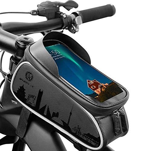 GAYISIC Sacoche Vélo Etanche, TPU Ecran Tactile Support Téléphone Cadre Vélo avec Housse de Pluie Imperméable Pochette Prise écouteur Gros Espace Rangement, pour Smartphone sous 6,0 Pouces