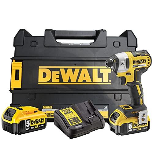 Dewalt DCF887P2-QW DCF887P2-QW-Atornillador Impacto sin escobillas XR 18V 1/4' 205Nm con 2 baterías Li-Ion 5,0Ah con maletín TSTAK, 400 W, 18 V, Negro Y Amarillo