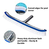 "Lalapool Swimming Pool Wall & Tile Brush,18"" Polished Aluminum Back Cleaning Brush Head Designed for Cleans Walls, Tiles & Floors, Nylon Bristles Pool Brush Head with EZ Clips (Pole not Included)"