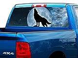 P429 Wolf Tint Rear Window Decal Wrap Graphic Perforated See Through Universal Size 65' x 17' FITS: Pickup Trucks F150 F250 Silverado Sierra Ram Tundra Ranger Colorado Tacoma 1500 2500