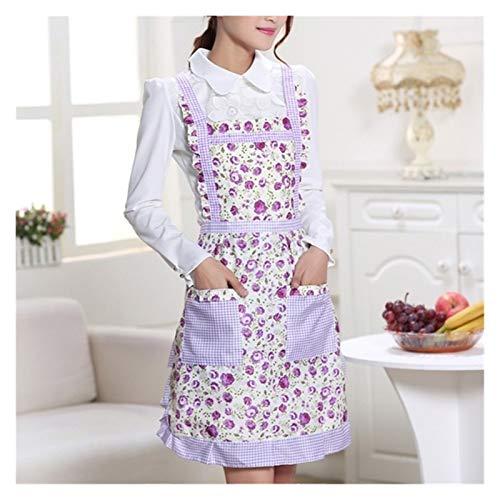 エプロン ポケットレディース防水クッキングエプロン印刷プリンセスエプロンドレス厚みの女性のコットンよだれかけ (Color : Purple flowers)