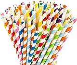 BETOY 200 pajitas de papel flexibles biodegradables y coloridas de papel desechables para...