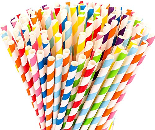 BETOY - 200 cannucce di carta flessibili, biodegradabili, usa e getta, per compleanni, matrimoni, Natale, feste per adulti e bambini